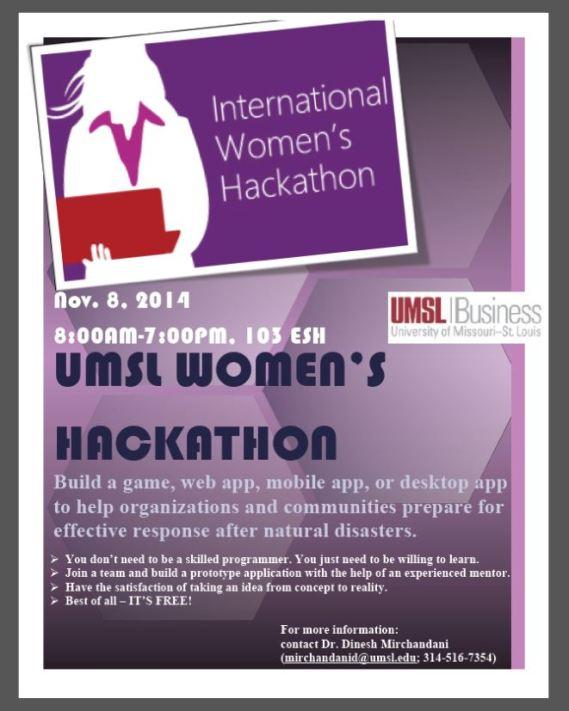 Women's hackathon flyer